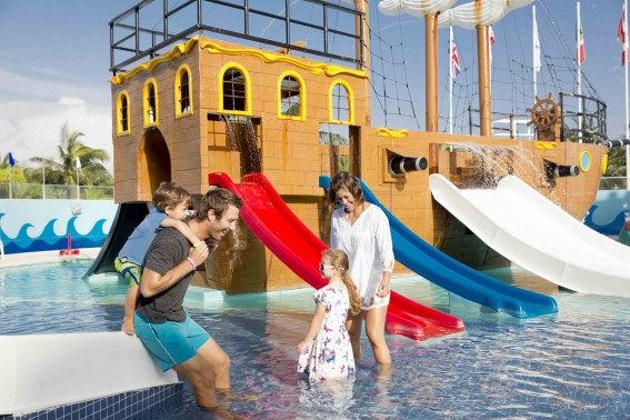 Pirate Ship-themed water park for toddlers at Seadust Cancun Family Resort