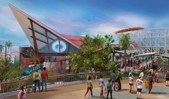 Pixar Pier Incredicoaster Rendering shows its mid-century-modern-style loading zone