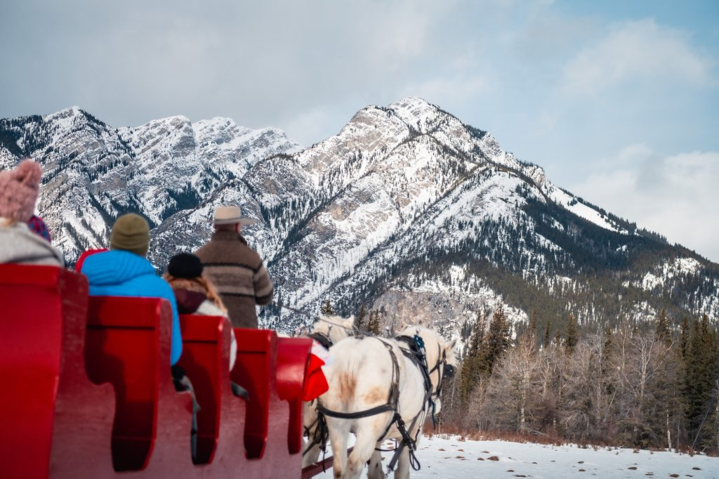 things to do in Banff in Winter include enjoying a winter sleigh ride