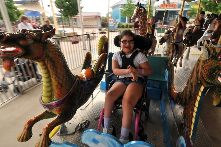 The rides at Morgan's Wonderland are available for kids of all abilities, whether or not you are in a wheelchair, you can still enjoy the rides.