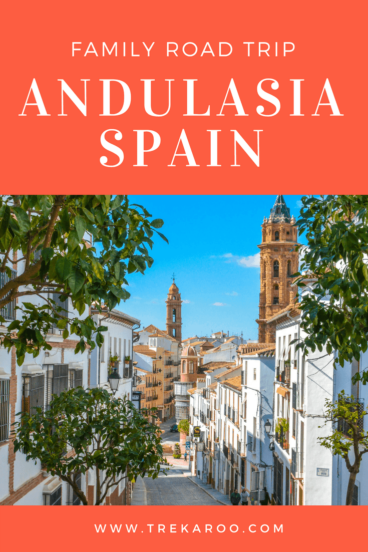 Explore Andalusia with kids on a southern Spain road trip. Tour the Alhambra Palace and its beautiful gardens in Granada. Explore the cathedral and Alcazar in Seville.  #SpainRoadTrip #FamilyTravel #RoadTrip #Spain #Seville #Alhambra #Granada #Algarve