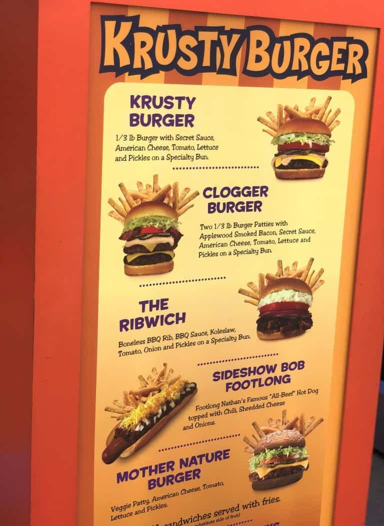 Krusty Burger Menu