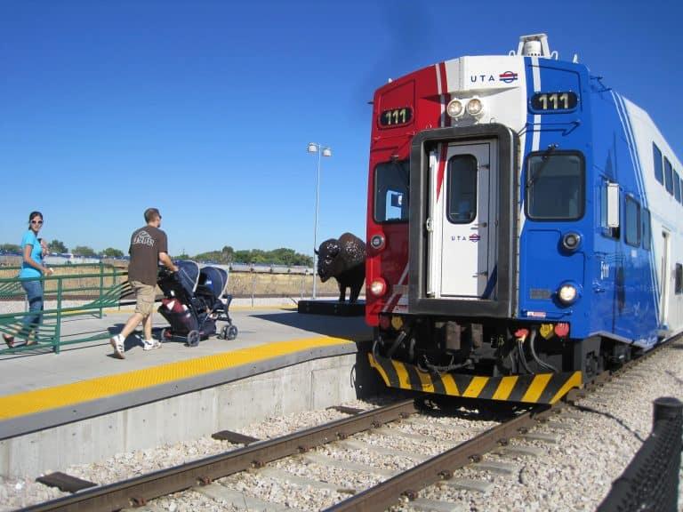 riding frontrunner train in SLC utah family reunion transportation