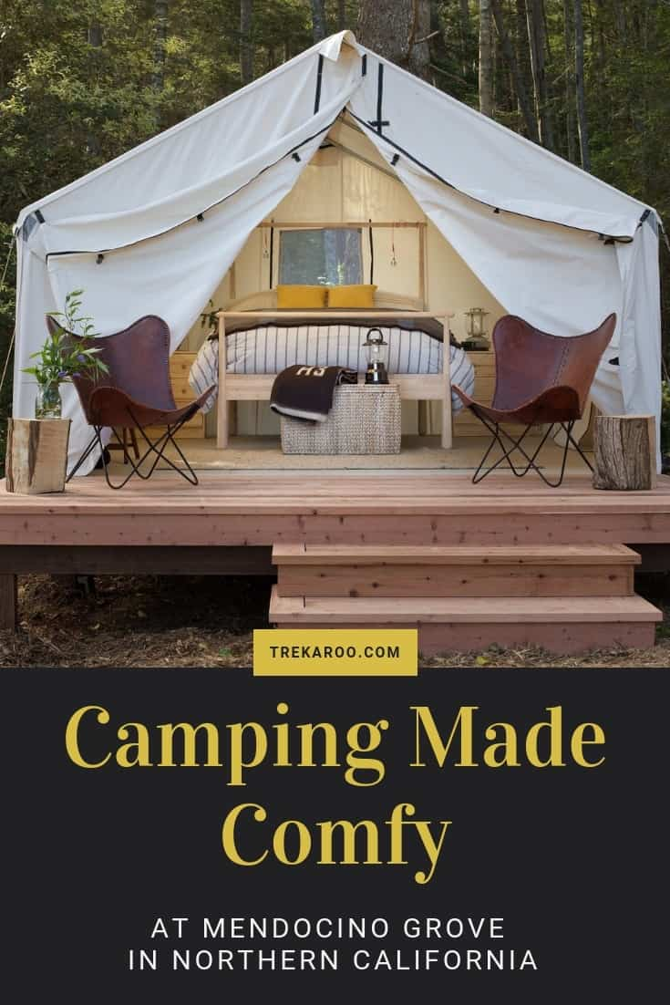 Mendocino Grove: Comfy Camping in Northern California's Redwoods Enjoy camping in California's redwood forests without the hassle of setting up camp, cooking meals and doing dishes outside? Mendincino Grove In Northern California is a comfy outdoorsy escape for families   #camping #california #glamping #mendocino #california #familytravel