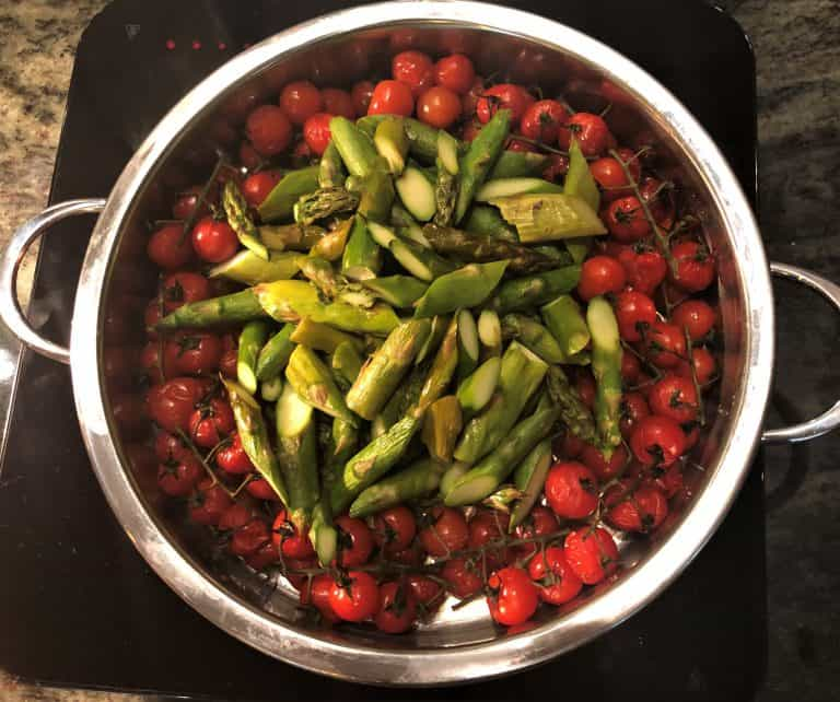 roasted tomatoes and Asparagus Napa Rose