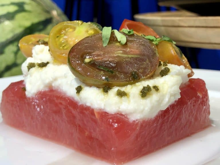 Compressed watermelon with tomato and ricotta