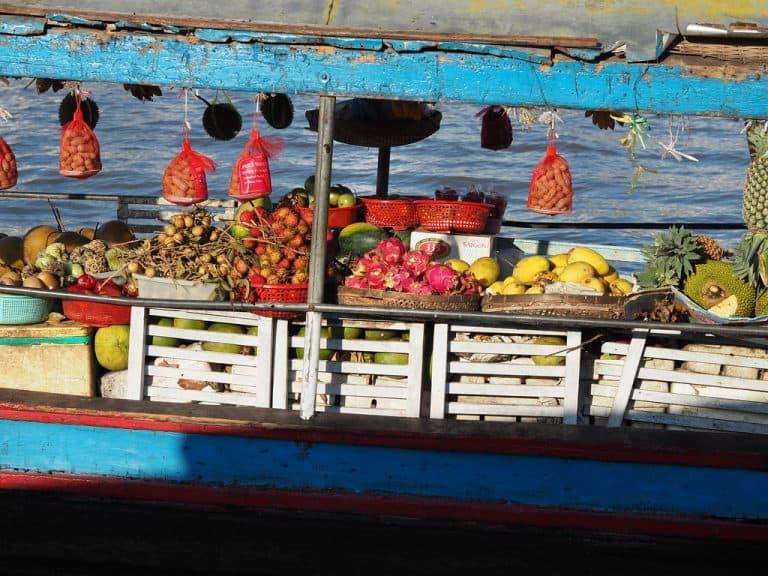 Cai be Vietnam Mekong River Fruit Vendor