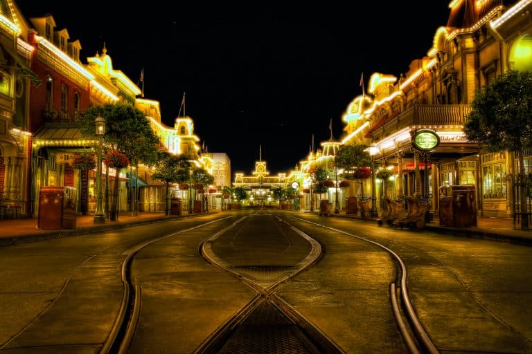 Main Street at night Magic Kingdom