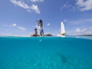 Tahiti with kids, paddleboarding
