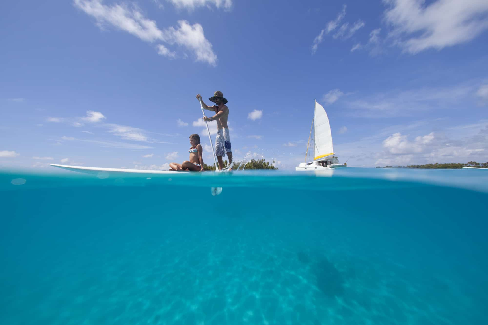 Tahiti with kids, paddleboarding