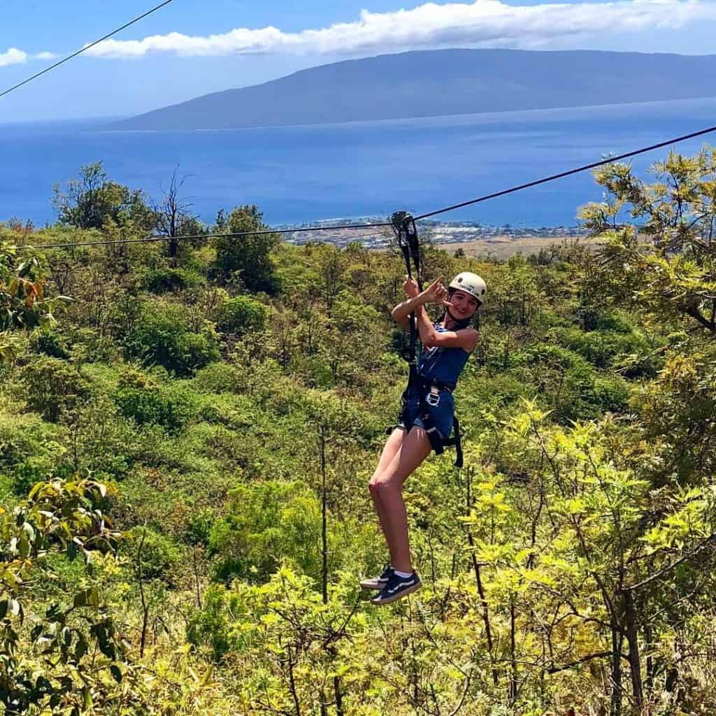 Zip Lining is one of the fun things to do in Maui with kids.