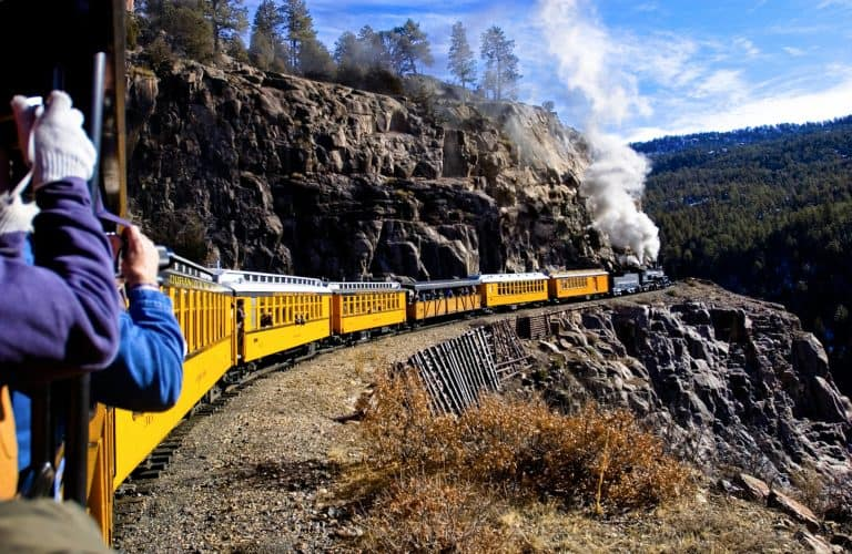 taking advantage of a perfect photo opportunity aboard the durango railroad