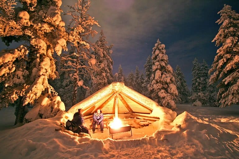 Winter in Lapland-Campfire in a Lappish Tent