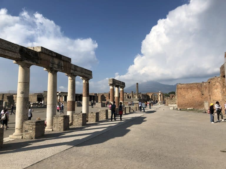 Pompeii city center with Vesuvius in the background
