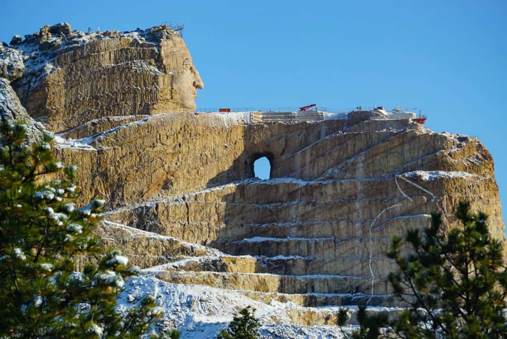 Things to do in the Black Hills- Crazy Horse Memorial after a Snowfall