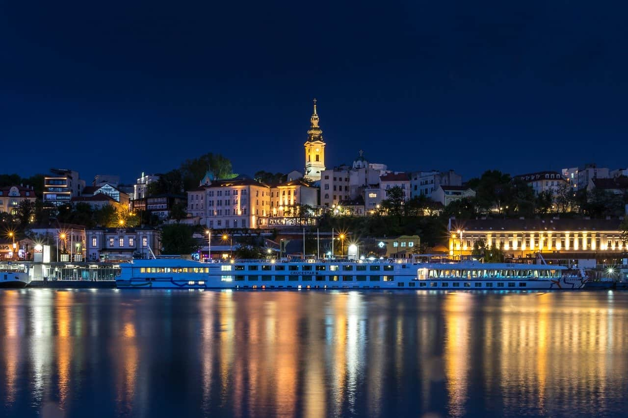 Danube River in Belgrade by night