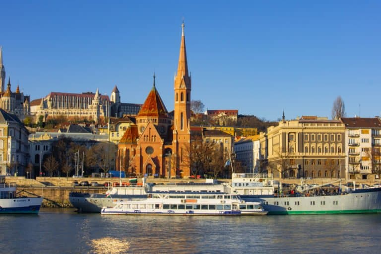 Danube River Budapest - Buda Side View