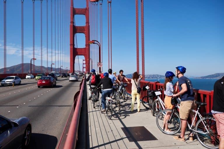 San Francisco hiking on the Golden Gate Bridge