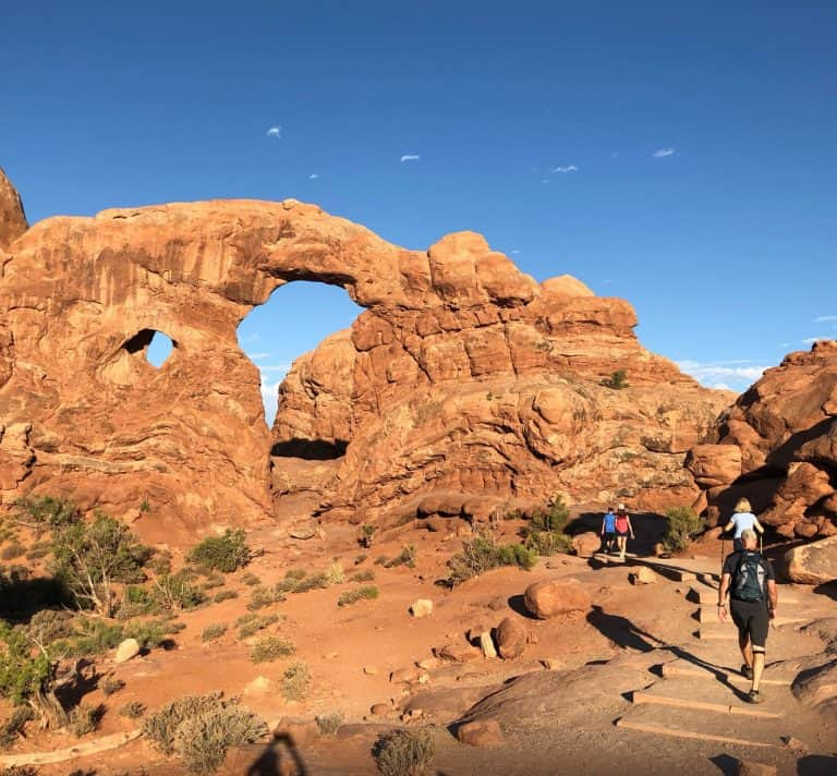 Hiking the Windows Trail is one of the best things to do in Arches National Park with kids