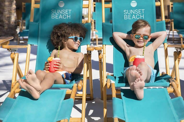 Kids relaxing at Sunset Beach at the Fairmont Scottsdale Princess. Credit Fairmont Scottsdale Princess.