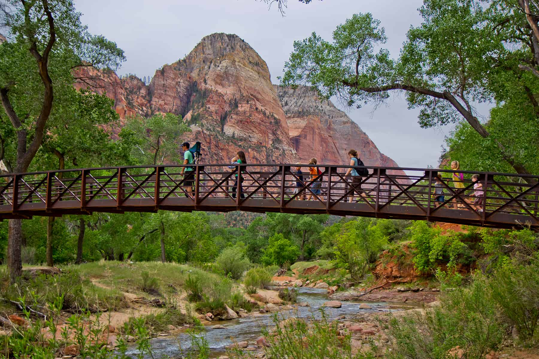 Zion Bridge over the Virgin River in Zion National Park