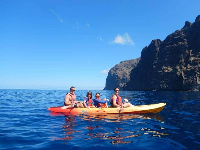 Kayaking by Los Gigantes on Tenerife in the canary Islands