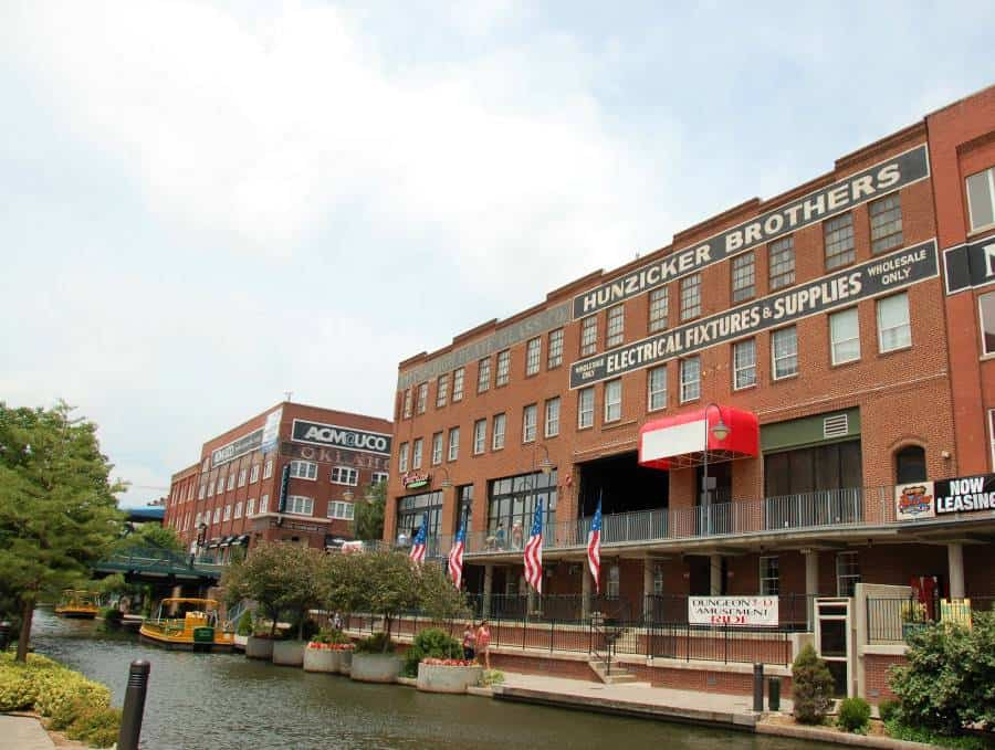 Visiting Bricktown is one of the best things to do in OKC with kids