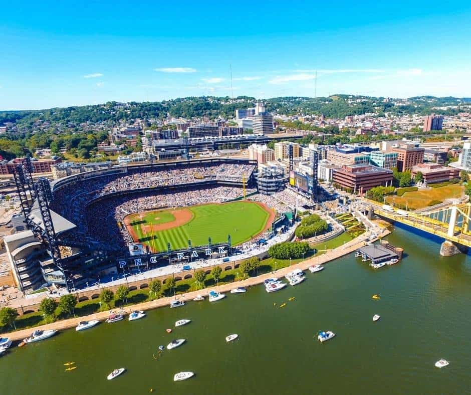 things to do in PIttsburgh with kids include visiting PNC park for a baseball game