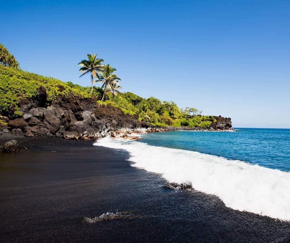 Honokalani Beach has beautiful black sand