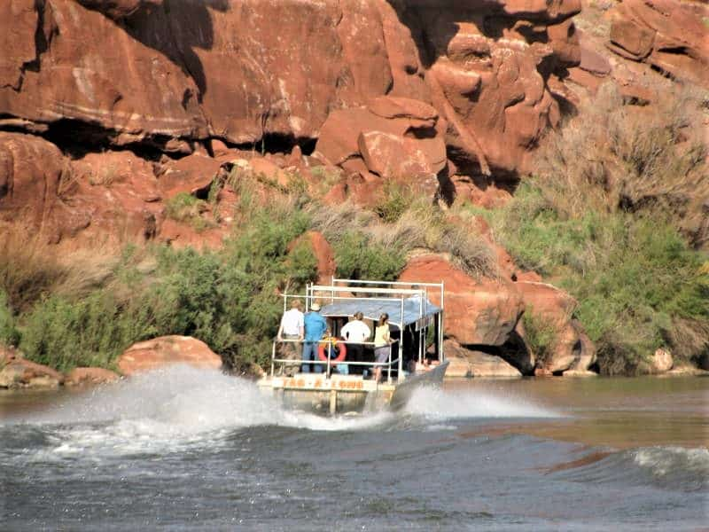 Things to do in Moab with kids include taking a jet boat ride