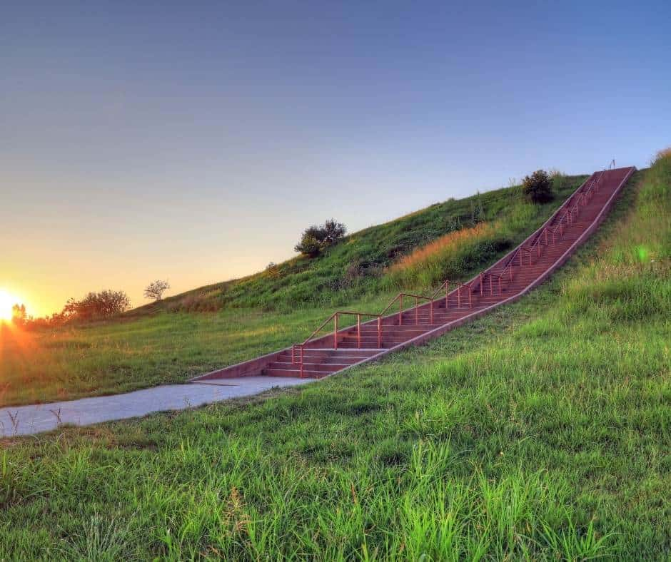 Visiting the Cahokia Mounds is one of the fun things to do in St. Louis with kids