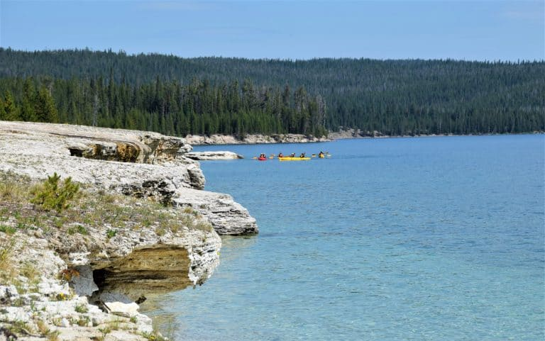 things to do in Yellowstone National Park with kids include kayaking Yellowstone Lake