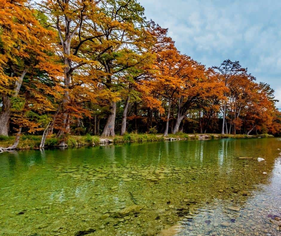 Garner State Park is a great place to enjoy fall colors in Texas.