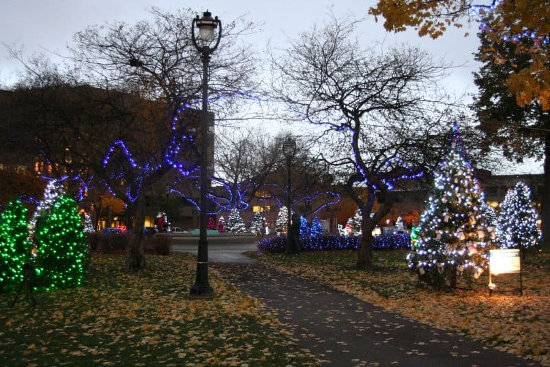 Popular Milwaukee Christmas events include Holiday Lights in Catherdral Square Park
